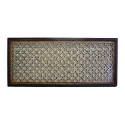 "Golden Lotus - Chinese Geometric Flower Pattern Long Wood Panel Screen - Dimensions:   28""  x 66"""