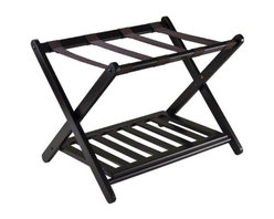 Winsome Wood - Reese Luggage Rack with shelf - Now organize and pack your luggage with our Reese Luggage Rack with shelf this stylist luggage rack comes with shoe shelf. Place luggage on top and your shoe on the bottom shelf to keep your floor clean. This rack is made of solid wood in dark espresso finish.