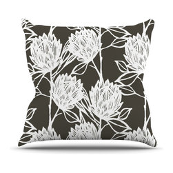 """Kess InHouse - Gill Eggleston """"Protea Graphite White"""" Brown Flowers Throw Pillow (Outdoor, 16"""" - Decorate your backyard, patio or even take it on a picnic with the Kess Inhouse outdoor throw pillow! Complete your backyard by adding unique artwork, patterns, illustrations and colors! Be the envy of your neighbors and friends with this long lasting outdoor artistic and innovative pillow. These pillows are printed on both sides for added pizzazz!"""