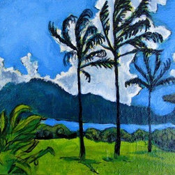 Kauai, Three Trees (Original) by Heather Bingham - This tiny painting is inspired by a photo taken near Hanelei Bay on the North Shore in Kauai.  This lil piece of paradise is unframed and wired to hang.  A perfect gift/promise of paradise to give to yourself or someone else to hang in their home, office or cubicle and brighten up the space.