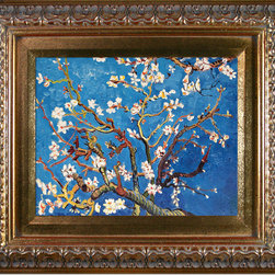 """overstockArt.com - Van Gogh - Branches of an Almond Tree in Blossom - 8"""" X 10"""" Oil Painting On Canvas Hand painted oil reproduction of a famous Van Gogh painting, Branches of an Almond Tree in Blossom. The original masterpiece was created in 1890. Today it has been carefully recreated detail by detail, color by color to near perfection. Van Gogh created this painting as a gift for his newborn nephew. The way he painted the brush strokes combined a sense of fragility and energy fitting for the young baby: A joyous and hopeful image for the child's future. Vincent Van Gogh's restless spirit and depressive mental state fired his artistic work with great joy and, sadly, equally great despair. Known as a prolific Post-Impressionist, he produced many paintings that were heavily biographical. This work of art has the same emotions and beauty as the original. Why not grace your home with this reproduced masterpiece? It is sure to bring many admirers!"""
