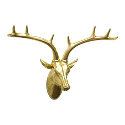 Golden Deer Bust - Combine your love for the outdoors and your need for sleek design with the Golden Deer Bust. With a shiny gold resin finish, this decorative piece stands out from the crowd with intricate detailing and exquisite color.