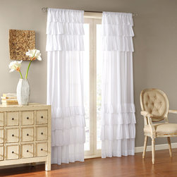 """Madison Park - Madison Park Anna Window Curtain - Vintage chic meets southern charm with oversized ruffles. Panel is made of classic cotton voile. This panel includes a 3"""" drapery pocket for easy assembly. To hang the panel, simply slide the drapery rod through the rod pocket. Single, wide width panel measures an ample 50"""" wide. Fits up to 1.25"""" diameter rod. 100% cotton voile, oversized ruffle, rod pocket"""