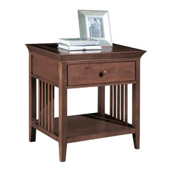 American Drew - American Drew Sterling Pointe Open Nightstand in Cherry - Sterling Pointe, from American Drew, is a collection of bedroom furniture with simple lines, but spectacular possibilities. Sterling Pointe is a versatile group that can easily capture any lifestyle and work in any setting. The collection can go from urban chic to country cottage, from transitional to coastal, and all personal styles in between! Sterling Pointe is offered in four popular colors; Black, White, Cherry and Maple. All case pieces come with matching color hardware and polished chrome finish hardware for even more personalization. In addition, the Black and White colored case pieces have the option to customize the tops in either Cherry or Maple colors. When you choose this option, you get hardware in the matching case color, matching top color and polished chrome finish. The three bed styles are offered in multiple sizes to fit any room and setting.This is the perfect collection for that condo or town home, second bedroom or second home. Sterling Pointe has a timeless appeal that can adapt and last a lifetime. Sterling Pointe will capture the essence of your personal style.