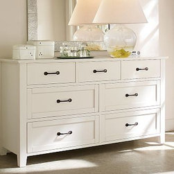 "Stratton Extra-Wide Dresser, Antique White - Our Stratton Extra-Wide Dresser features a solid-wood frame and drawers with English dovetail joinery and bronze-finished iron pulls.66"" wide x 21"" deep x 36"" highFinished by hand on all sides using an exclusive multistep process that results in exceptional depth of color, then sealed with a protective lacquer.View and compare with other collections at {{link path='pages/popups/bedroom_DOC.html' class='popup' width='720' height='800'}}Bedroom Furniture Facts{{/link}}.View our {{link path='pages/popups/fb-bedroom.html' class='popup' width='480' height='300'}}Furniture Brochure{{/link}}.Catalog / Internet Only."