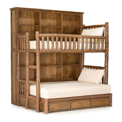 La Lune Collection - Rustic Custom Bunk Bed by La Lune Collection - Rustic custom Bunk Bed with built-in bookcases and drawers by La Lune Collection