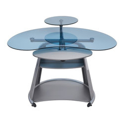 Calico Designs - Computer Desk in Silver and Blue - Main Work Surface: 45.75  In. W X 25.25  In. DMonitor Shelf: 15.75  In.  In Diameter24  In. W X 10.5  In. D Adjustable Keyboard ShelfMiddle Shelf: 21.25  In. W X 15.75  In. DBottom Shelf: 28.5  In. W X 18.5  In. DUnique Contemporary DesignTempered Safety Glass Top And Monitor ShelfTop, Monitor Shelf And Keyboard Shelf Rotate Independently Around A Central Hub. 45.75 in. W x 42.5 in. D x 33.74 in. H (77 lbs) The stylish Neptune Computer Desk by Calico Designs features a cool, technology-driven design adaptable to a variety of environments and highlighted by its sturdy powder-coated steel frame and tempered blue glass. The top, monitor shelf and keyboard shelf rotate independently around a central hub which help keep the main work surface clear while the Mechanically adjustable swivel arm shelf lets you set your flat-panel monitor at the most ergonomic and comfortable position that frees up valuable desk space. The bottom shelf can accommodate a CPU or printer. Its space-saving functionality makes it an ideal fit for any home or office!