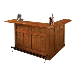 Hillsdale - Hillsdale Classic Large Oak Wrap Around Home Bar - Hillsdale - Home Bars - 62576AXOAK - Raising the bar for quality. Constructed of sturdy oak with oak veneers the Hillsdale Classic Large Wrap Around Home Bar is multi-functional and built to blend beautifully with your decor. It features cabinets to provide ample storage space a wine rack that holds up to twelve bottles and a side bar with additional shelving that can be attached on either side. Redefine your home with the Hillsdale Classic Oak Large Wrap Around Home Bar.