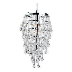 Eurofase 12260-010 Vidal 1-Light Pendant, Chrome/Clear Crystal - You'd think tiny chandeliers dripping with teardrop-shaped crystals would cost a fortune. Luckily though, you'd be wrong! These clock in well under $100 a piece but instantly up the glam quotient in any space.
