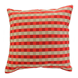 """Decorative Pillow Covers - Indian design """"Modern Squares"""" Pillow Cover (Set of 2). Silvery Saffron color. Exclusive from Banarsi Designs Collection."""