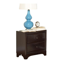Coaster - Coaster Webster 2 Drawer Nightstand in Brown Maple Finish - Coaster - Nightstands - 202492 - For functional storage and display space as well as a chic and timeless look this maple nightstand is an exceptional choice. Sleek ovulo mouldings convex case fronts and bracket feet adorn this piece while a rich Brown Maple finish gives it a sophisticated look. The top of the nightstand is the ideal place for your bedside lamp alarm clock or cell phone while the two drawer offer additional storage for bedroom necessities.