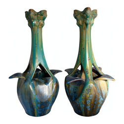 Pierrefonds Art Nouveau Vases, Pair, Made in France, ca. 1905-1908 - Q Antiques and Design