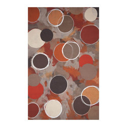 Liora Manne - Liora Manne Amber Big Dot Area Rug - Artful and abstract, this handmade area rug reminds us of a modern painting adorned with warm and earthy circles encircled by white loops. It's formed using Liora Manne's patented Lamontage process, in which fibers are intricately cut, blended, and layered by hand, then mechanically interlocked. Antimicrobial and made with UV-stabilizing material, it can used to brighten floors indoors or out.Available in multiple sizes100% acrylicUV-stabilizing synthetic fibersHandmade and machine-processedAntimicrobialIndoor or outdoor useShips in 2-4 weeks