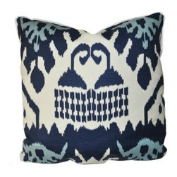"Pillow - Kazak Navy - An Oomph favorite - subtle shades of rain-washed, camel or charcoal on cream ground, linen fabric. An updated classic that compliments our neutral color palette. Quiet oomph. Dimensions: 22"""" square. Insert: 90/10 feather/down with zipper for ease of cleaning. Made in U.S.A."