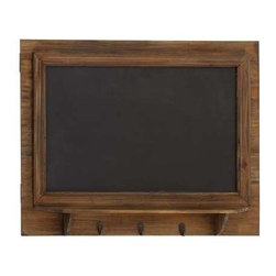 Benzara - Pine Wood Blackboard Wall Shelf with Three Metal Hooks - Pine Wood Blackboard Wall Shelf with Three Metal Hooks. Some assembly may be required.