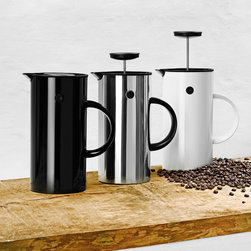 Stelton - Stelton Press Coffee Maker - Erik Magnussen''s classic vacuum jug is now available in an updated version with a new function. Designed for Stelton in 1977, the prize-winning jug now comes as a press coffee maker in three different finishes - steel, black or white plastic. The press coffee maker brews up to 8 cups. Its double walls and simple open/close function keep coffee hot for a long time. To serve, grasp the knob and turn the lid open; close by turning the lid back. The jug comes complete with measuring spoon and instructions for a unique taste experience with every cup. Wash the piston in the dishwasher and clean the jug by hand. Manufactured by Stelton.Designed in 1977/2010.