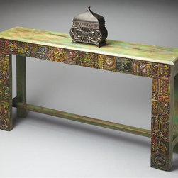 Butler - 55 in. Modern Console Table - Three drawers. Artifacts finish. Made in India. 55 in. W x 11.75 in. D x 31.5 in. H (162 lbs.)