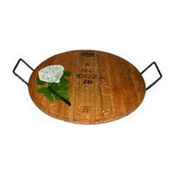 """Old River Road - Wine Barrel """"Cask"""" Upcycled Handled Serving """"Cheese"""" Tray - Made from Recylced (repurposed) french wine barrels with French oak mostly from the napa valley area.  The Wine Cask (barrel) Iron handled cheese tray is a great gift for the entertainer....Can be used for appetizers, cheeses, desserts, etc...."""