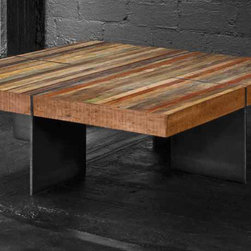 Alec Coffee Table - A beautiful collection of sustainable furniture that is hand-crafted from exotic demolition hardwoods such as salvaged wood from downed telephone poles and from 100-year-old flooring as well as white oak and black walnut. Handcrafted in the USA with natural wax finish.