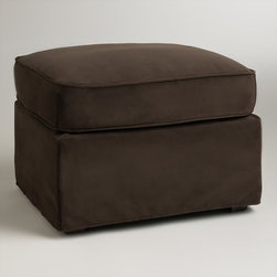 World Market - Chocolate Brown Velvet Loose-Fit Luxe Ottoman Slipcover - Designed for a casual, loose fit on our Luxe Ottoman, our easy-to-clean velvet slipcover refreshes the look of your living room affordably. Keep one slipcover on the ottoman and one stored away to manage life's little spills.