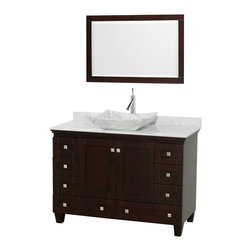 "Wyndham Collection - 48"" Acclaim Single Vanity w/ White Carrera Marble Top, White Carrera Marble Sink - Sublimely linking traditional and modern design aesthetics, and part of the exclusive Wyndham Collection Designer Series by Christopher Grubb, the Acclaim Vanity is at home in almost every bathroom decor. This solid oak vanity blends the simple lines of traditional design with modern elements like beautiful overmount sinks and brushed chrome hardware, resulting in a timeless piece of bathroom furniture. The Acclaim comes with a White Carrera or Ivory marble counter, a choice of sinks, and matching mirrors. Featuring soft close door hinges and drawer glides, you'll never hear a noisy door again! Meticulously finished with brushed chrome hardware, the attention to detail on this beautiful vanity is second to none and is sure to be envy of your friends and neighbors"