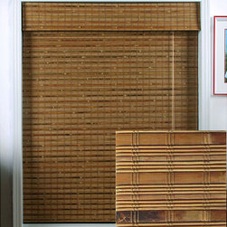 """Arlo Blinds - Dali Native Bamboo Roman Shade 74"""" Length - Create a warm,inviting atmosphere in your home with these natural bamboo Roman shades. The woven blinds allow light to filter through softly,so you can avoid the glare from bright sunlight. The shades can be easily cleaned using a feather duster."""