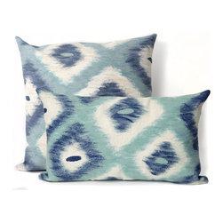 Ikat Diamonds Aqua Outdoor Pillow - Ikat Diamonds Aqua outdoor pillow design.