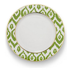 Ikat dinner plate green featuring an unexpected touch for Calligrapher canape plate