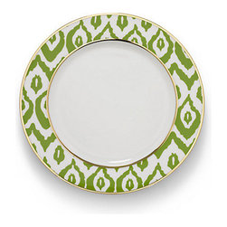 Ikat Dinner Plate, Green - Featuring an unexpected touch of gold, this ikat dinner plate set will have your guests commenting on your impeccable style and wonderful hosting skills.