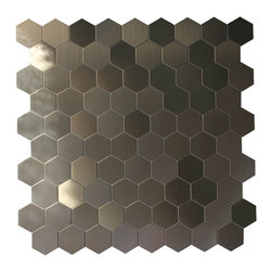 GL Stone - Honeycomb Pattern Metal Mosaic Tile, Silver - This Honeycomb pattern Mosaic Tile is constructed from durable, impervious metal material. Modern style radiates from this sweet honeycomb tile design in sleek stainless steel, giving your kitchen or bath an unforgettable update and tons of polished allure. Morocco Metal Mosaic Tile with strong glue backing which is no need to grout and easy installation. That would be the great way to save time and cost. It is suitable for installation on floors and walls in commercial and residential spaces such as bathrooms, kitchen,etc.