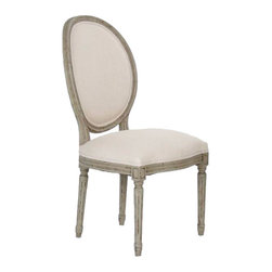 """Zentique - Zentique Furniture Medallion Olive Green Side Chair - Fusing classic European design with simple rustic charm, understated elegance defines Zentique's collection of fine home furnishings. A distressed olive green finish adds an antique touch to this Louis XVI style Medallion side chair. Upholstered in off-white cotton, this traditional oval back chair lends elegance to a dining room. Chair measures 21""""W x 19""""D x 41""""H. Seat: 19""""H. Back: 20""""W."""
