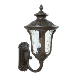 Exteriors - Exteriors Sheffield Traditional Outdoor Wall Sconce - Large X-89-0253Z - Every home needs a beautiful piece like this large Craftmade Sheffield Traditional Outdoor Wall Sconce. It has a frame in a rich, aged bronze finish with a gently scrolled arm, shapely hood and panels of hammered clear glass. This two-light, 22-inch-tall fixture will cast a warm and welcoming glow of light in any space.