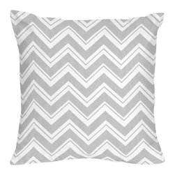 Sweet Jojo Designs - Zig Zag Yellow and Gray Decorative Accent Throw Pillow by Sweet Jojo Designs - The Zig Zag Yellow and Gray Chevron Decorative Accent Throw Pillow by Sweet Jojo Designs, along with the bedding accessories.