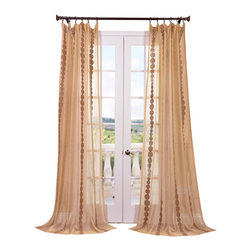 Exclusive Fabrics & Furnishings, LLC - Cleopatra Gold Embroidered Sheer Curtain - Toast to this! The embroidered design on these sheer drapes is reminiscent of golden bubbles floating upward in a glass of champagne. Upon hanging these graceful panels, grab a flute and toast yourself for another successful decorating choice.