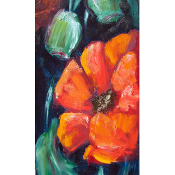 """Red Poppies""  (Original) by Sharon Sieben - Artwork is on canvas bonded to a wooden cradle.  Sides are painted black and this piece is wired on back; Ready to Hang"