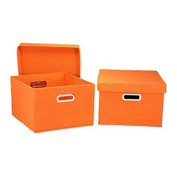 Household Essentials Side Storage Bins, Orange, Set of 2 - Add some fun color to the top of your closet with these boxes with handles and lids. Corral flip flops inside when they are not needed.
