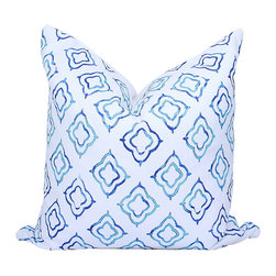 Pillow Fever - Cotton Pillow Cover with Keyhole Print in Sapphire - This beautiful pillow cover has Keyhole print on white background. Colors are: sapphire, blue, white.