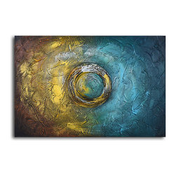 A ripple in time Hand Painted Oil Painting - Color and shape can say so much. This abstract painting draws your eye toward the center with simple geometry and the power of a circle. Two contrasting hues with a variety of depth will add dimension to your walls, wherever you hang this piece.