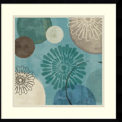 Amanti Art - Flora Mood II Framed Print by Veronique Charron - In this striking abstract art print, Veronique Charron skillfully marries contrasts; dark hues with light and nature inspired imagery with geometric shapes.