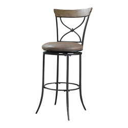 Hillsdale Furniture - Hillsdale Charleston Swivel X-Back Bar Stool in Desert Tan - The Charleston X-Back swivel stool combines a rustic desert tan finished wood top accent with a transitional metal X in the center of the back and a brown faux leather seat. Appealing alone or combined with the Charleston dining collection.