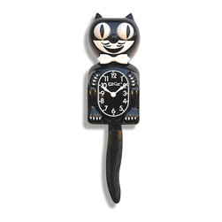 "Kit Cat Clocks - 15.5"" x 4"" Classic Black Kit-Cat Clock BC-1 - Since the mid 1930's, in the middle of the Great Depression, the Kit-Cat Clock has been inspiring hope and entertaining the world with his rolling eyes and wagging tail. The classic vintage look rolls accurate time and fun movement into one. Also Made in the USA by Quality Craftsman. This clock is sure to bring a smile to the face of you and your guests!"