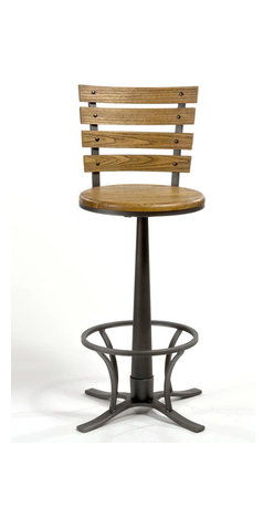Hillsdale Furniture - Swivel Counter Stool - Constructed of metal with a steel gray finish. Complemented by a wooden, light oak-finished seat bearing a strong resemblance to old school desk chairs. 360 degree swivel stool. Seat Height: 26 in. H. 22 in. W x 22 in. D x 39.75 in. H (24.1 lbs.)