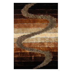 Rug - Hand-tufted Shaggy  Living Room Brown Area Rug, Brown, 2 X 8 Ft., Geometric, Han - SHAGGY VISCOSE  DESIGN COLLECTION