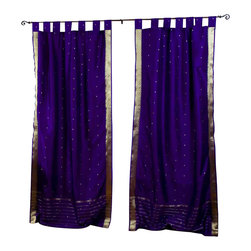 Indian Selections - Pair of Purple Tab Top Sheer Sari Cafe Curtains, 43 X 24 In. - Size of each curtain: 43 Inches wide X 24 Inches drop .