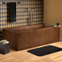 """72"""" Ultro Rectangular Copper Tub - This rectangular freestanding tub has an stylish, innovative design and is constructed of solid copper with a hammered, Antique Copper finish. The gently sloping ends will provide a comfortable and relaxing bathing experience."""