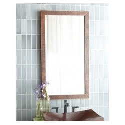 """KCK Bathroom Mirrors & Accessories - Small Milano Mirror In Antique - Boasting a soft, contemporary style, Milano's sleek lines are striking, to say the least. Make it your own by presenting it in either the horizontal or vertical perspective. Hand hammered copper. Beveled glass. Recycled copper. Mounts horizontal or vertical. 20"""" W x 36"""" D"""