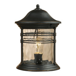 Elk Lighting - Elk Lighting Madison Traditional Outdoor Post Lantern Light X-GBM-96180 - A Pristine Balance Between Form And Function Is Achieved With This Colonial Period Rejuvenation Series.  The Matte Black (Mbg) Finish Has Subtle Hand Applied Gold Highlights That Grace The Antique Profile Of The Fixtures.  The Water Glass Diffusers Lend A Touch Of Additional Texture To Complete The Stylish Impact.  Use With Or Without The Decorative Ring That Is Provided With The Series.