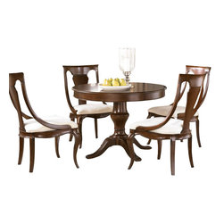 American Drew - American Drew Cherry Grove NG 7 Piece Round Dining Room Set in Brown - Cherry Grove New Generation line promises the same timeless quality and appeal with a full line of dining room, bedroom, home office, entertainment and occasional furniture. The line incorporates many elegant curves and graceful movement, and is updated with today's finishes, functionality and style. The inviting mid tone brown finish makes the cherry veneers pop on each piece, along with custom designed hardware. This line takes advantage of vertical space with higher case heights, and maximizes the utility of small spaces with hinged drop leaves on servers and tables. In combination, the collection takes functionality to a lifestyle level and allows urban or scaled-down living spaces to become entertainment areas, making small rooms work like big rooms. The New Generation of Cherry Grove is about honoring tradition while staying on trend.
