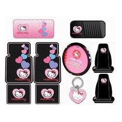 None - Hello Kitty Sanrio 10-piece Auto Accessory Set - Customize your car, truck or SUV instantly with this 10-piece car accessory setCar interior set includes floor mats, seat covers, steering wheel cover, sunshade, CD visor and keychainCar seat cover combo kit is officially licensed