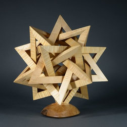"Pyramid Sculpture, in stand.  Illumination optional. - 14"", curly maple."